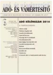 NAV szak�rt�k - Ad�- �s v�m�rtes�t� - Ad� k�l�nsz�m 2016