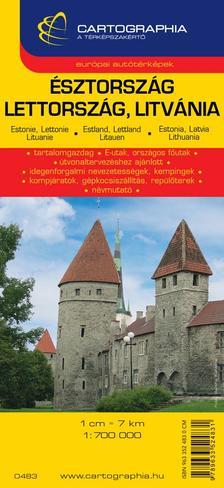 Cartographia Kiadó - ÉSZTORSZÁG, LETTORSZÁG, LITVÁNIA TÉRKÉP 1:850000