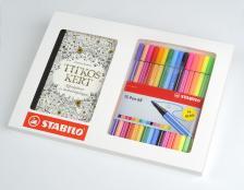 HU6815-2 - Színező szett: Titkos kert képeslapkönyv + STABILO Pen 68 rostirón filctollkészlet